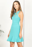 Kandace Ruffle Hem Dress-Teal