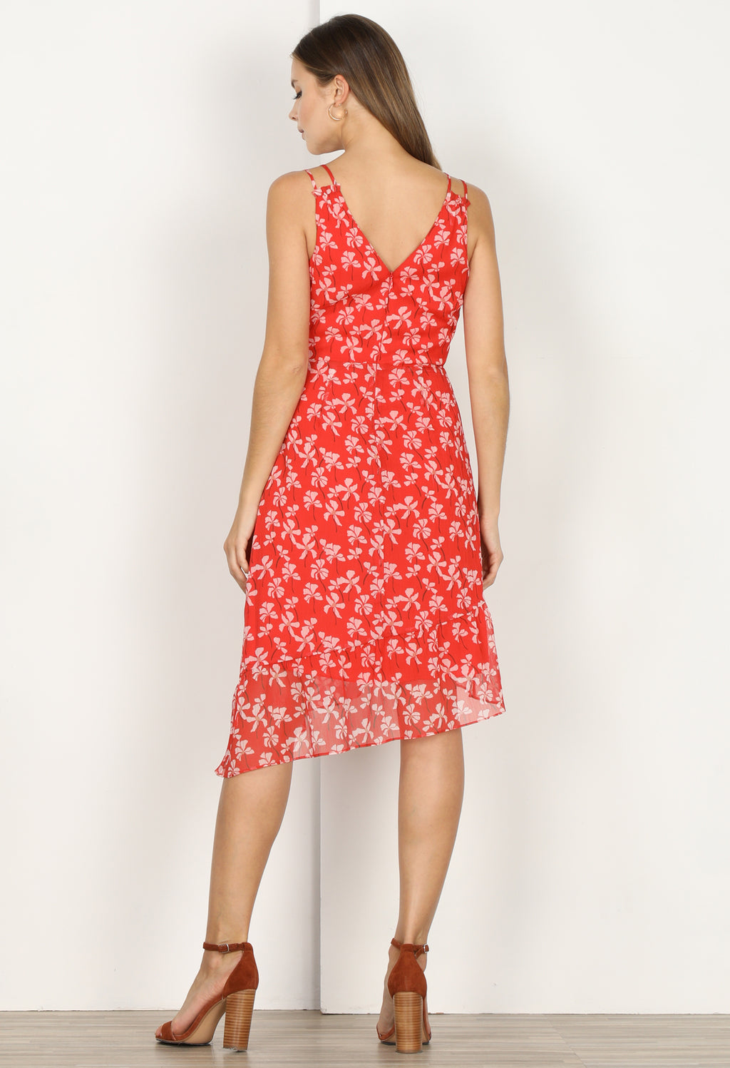 Tessie Printed Asymmetrical Midi Dress