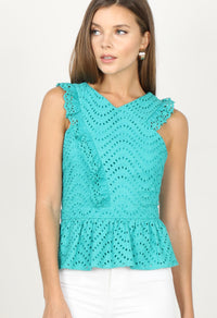 Chantal Eyelet Ruffle Top