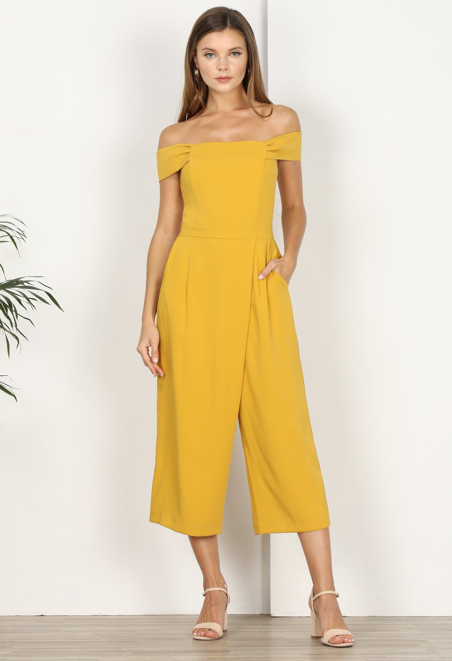 Roxanne Off the Shoulder Culottes-Mustard