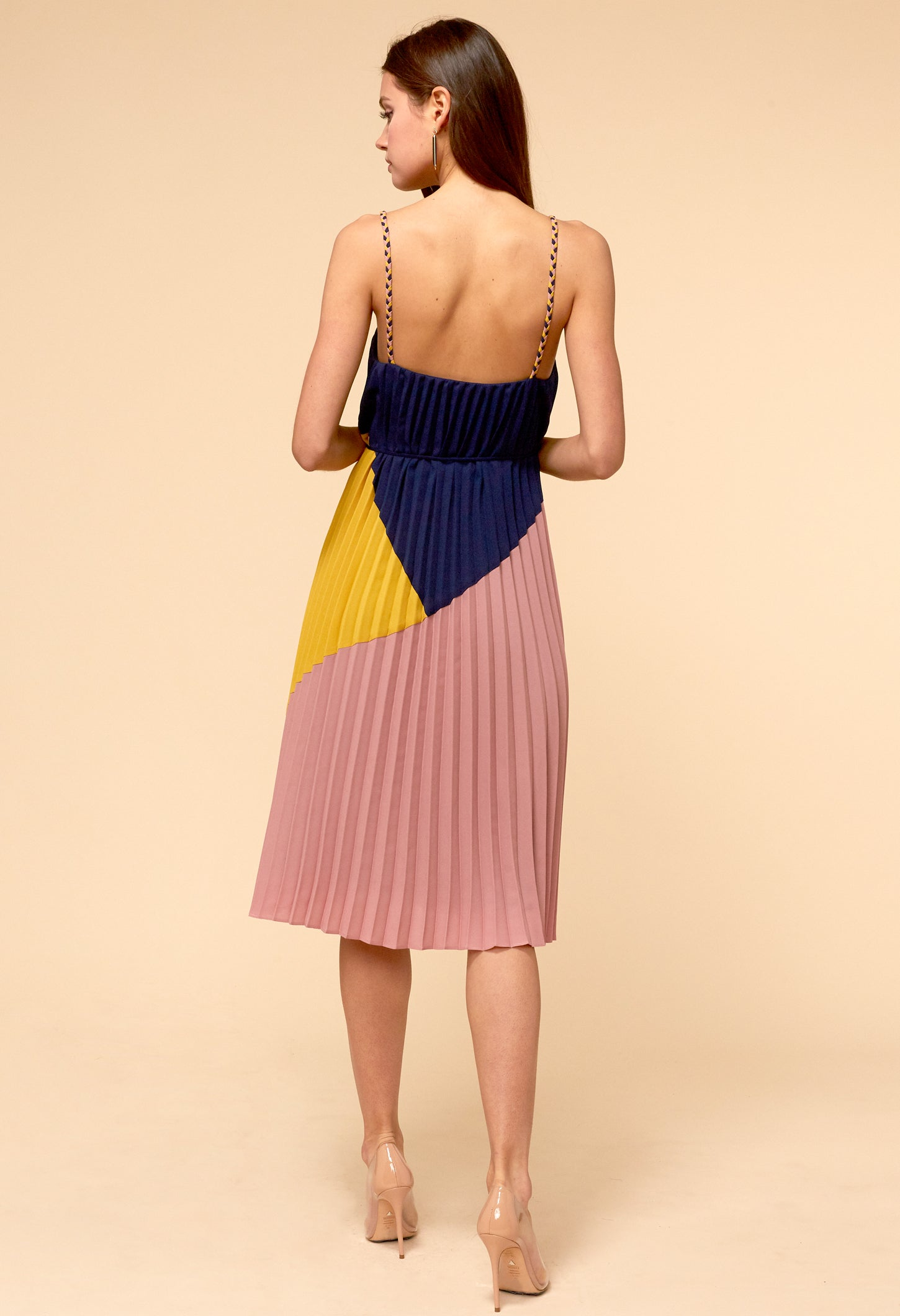 Sisley Pleated Tie-Waist Dress