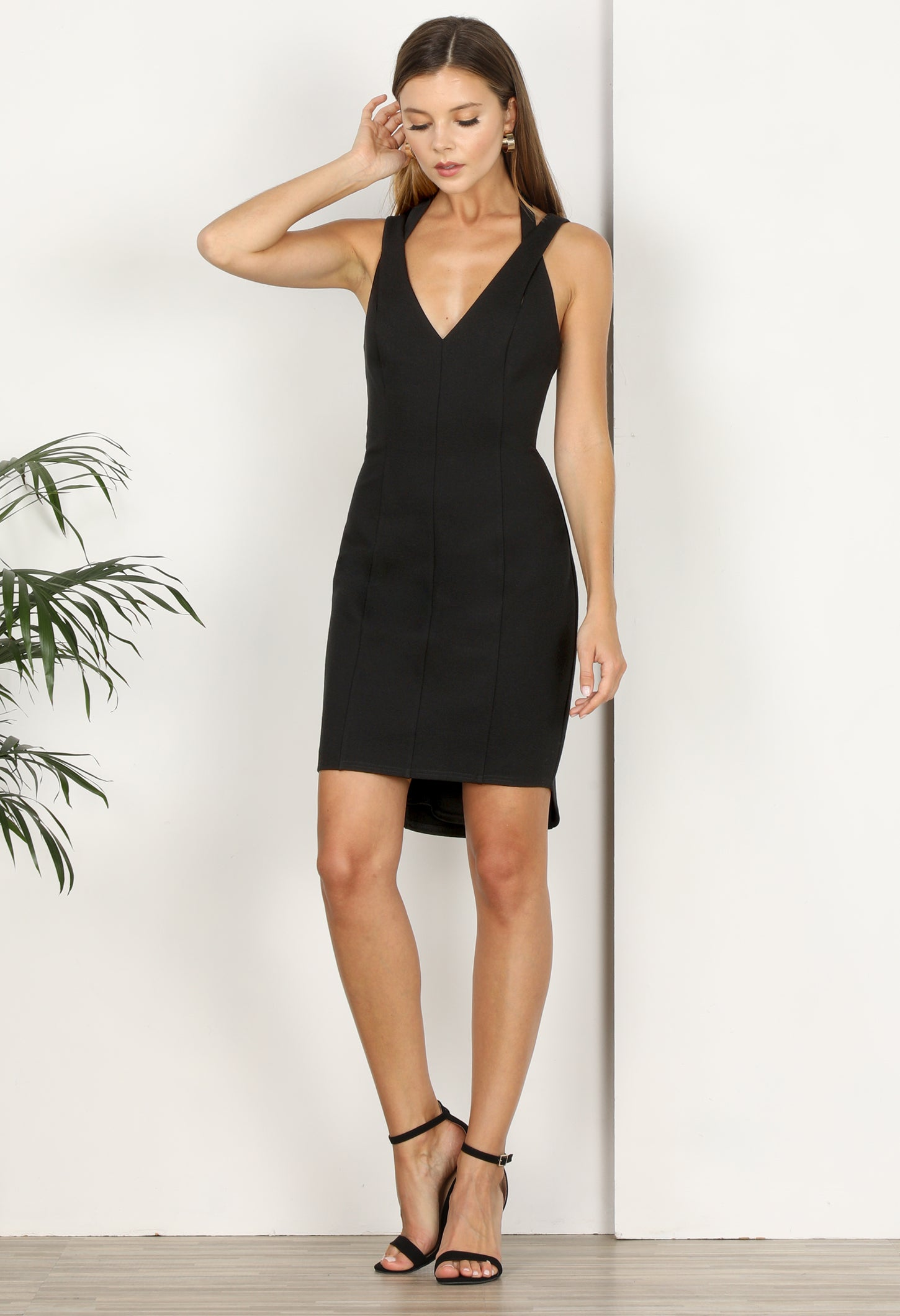 Ainsley Ponte Knit Halter Dress