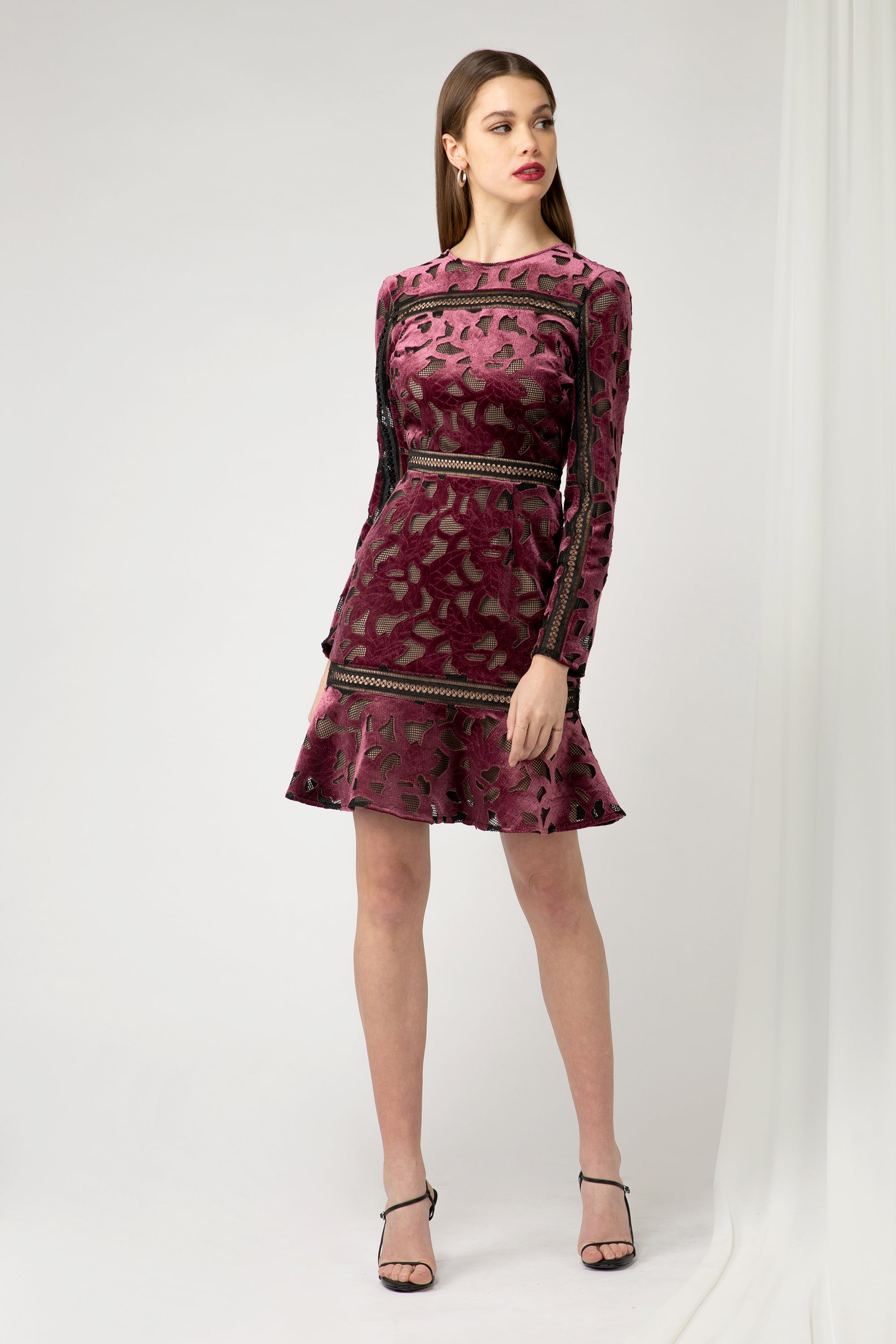 Skyla velvet Lace Sheath Dress