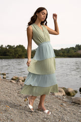 Felicia Pleated Tiered Colorblocked Dress