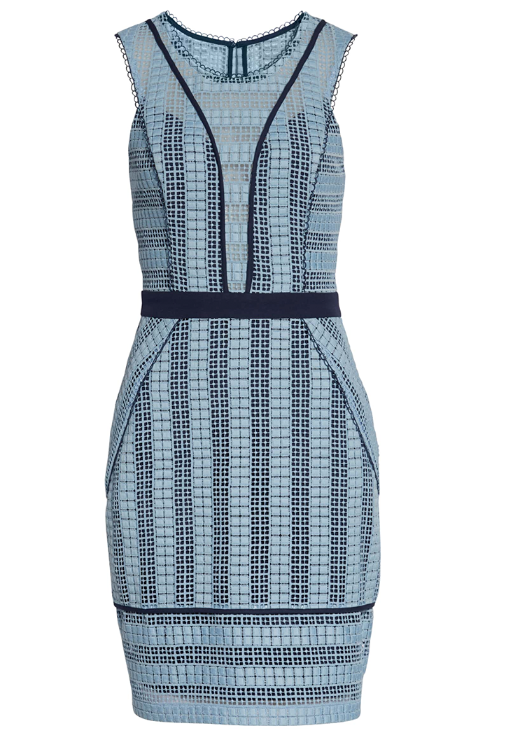 women's blue stripe sleeveless dress
