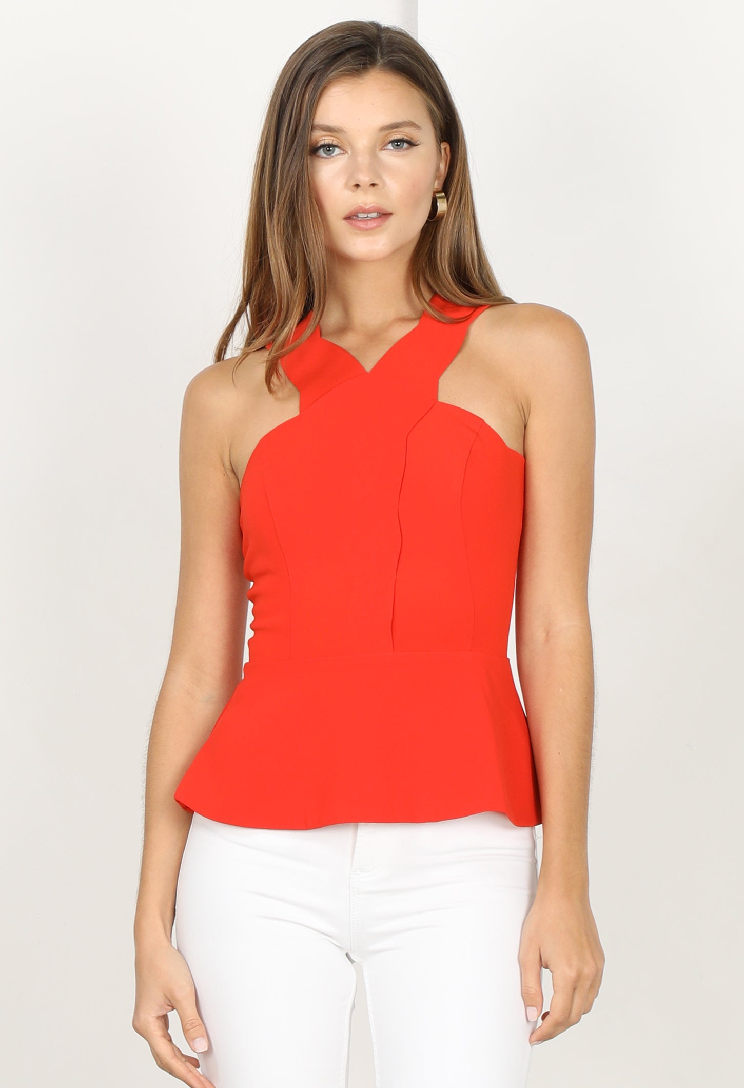 Kandace Cross Scallop Tank