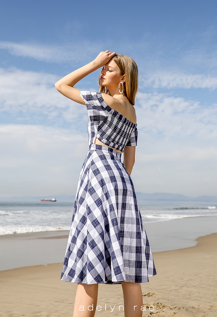 Daisy Off the Shoulder Gingham Dress