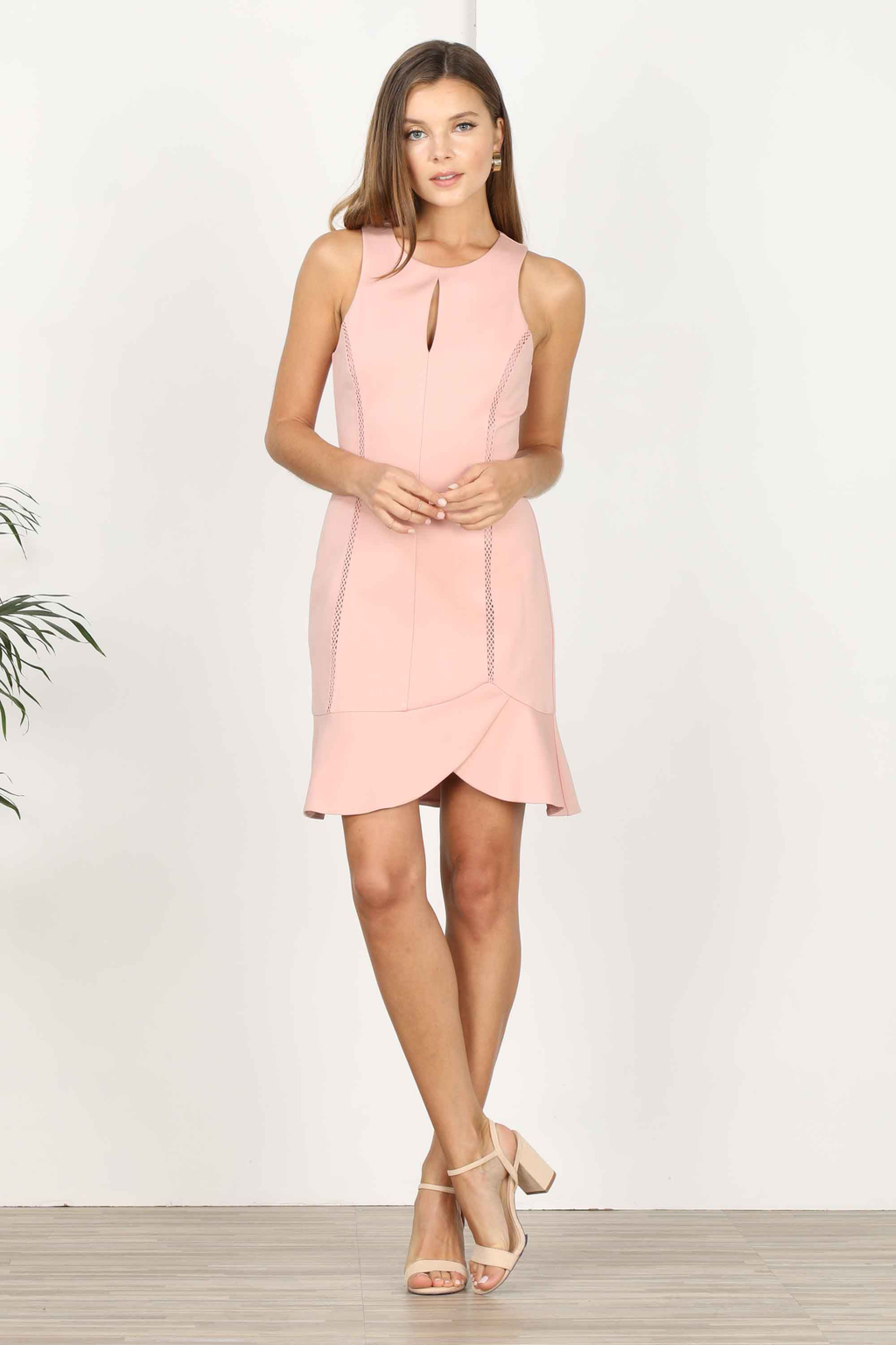 Nana Knit Ponte Column Dress - English Rose