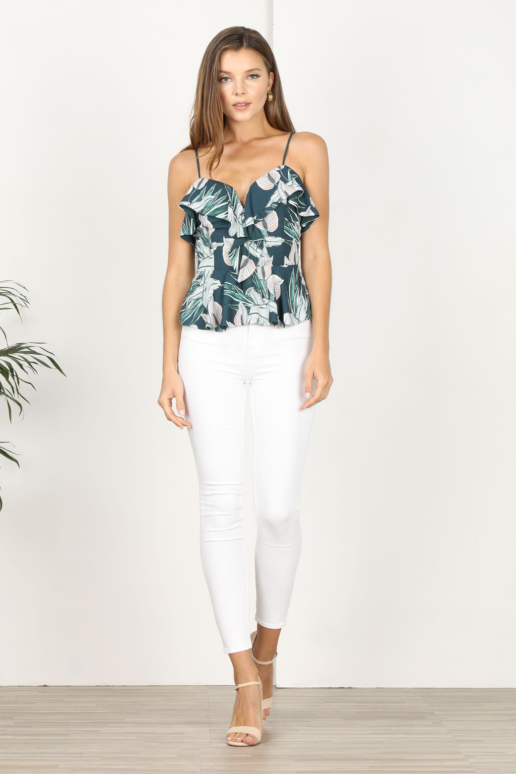 Nissa Printed Ruffle Top