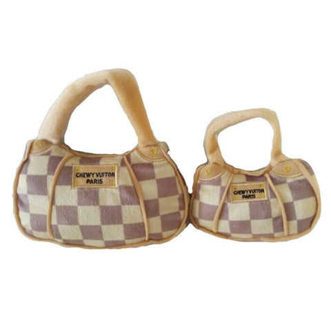 Checked Chewy Vuiton Purse Toy