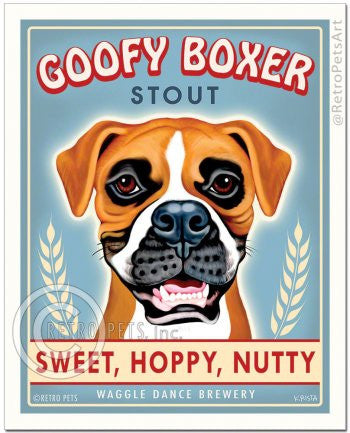 Boxer: Goofy Boxer Refrigerator Magnet
