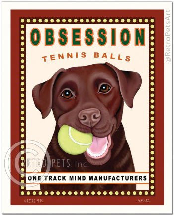 Lab (Chocolate): Obsession Tennis Balls Refrigerator Magnet