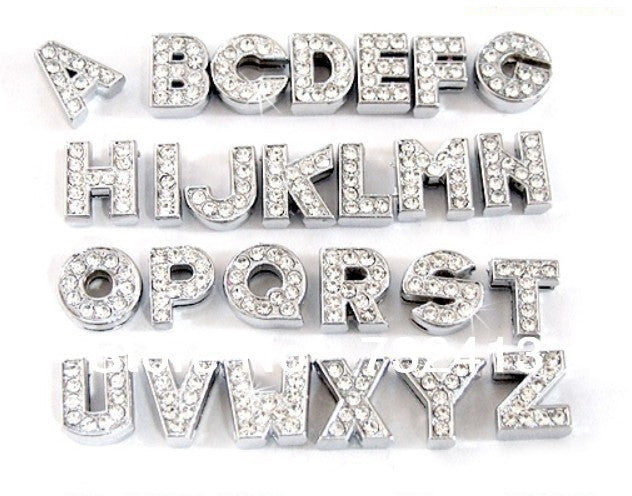 10mm (Small) Alphabet Rhinestone Letter Sliding Charms