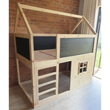 House Top Bunk Bed with Window and Chalkboard Panels