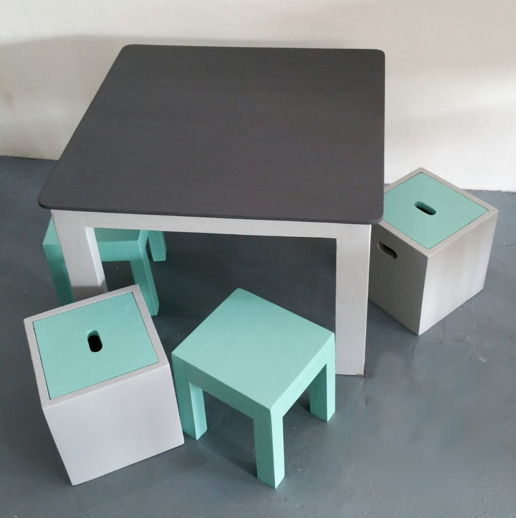 Bokkie Chalkboard Table and 2 x Stools + 2 Box stools