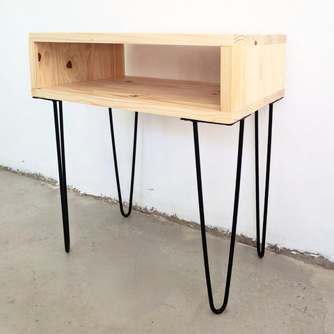 Box Side Table w/Hairpin Legs
