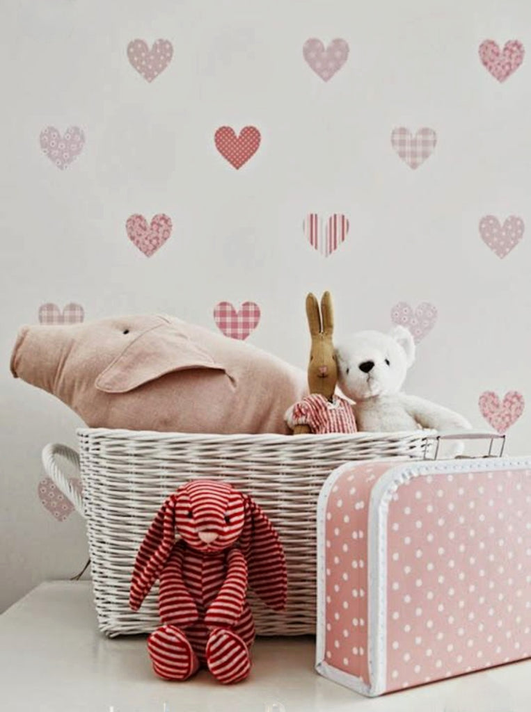 Pink Heart Detail Wall Paper Stickers