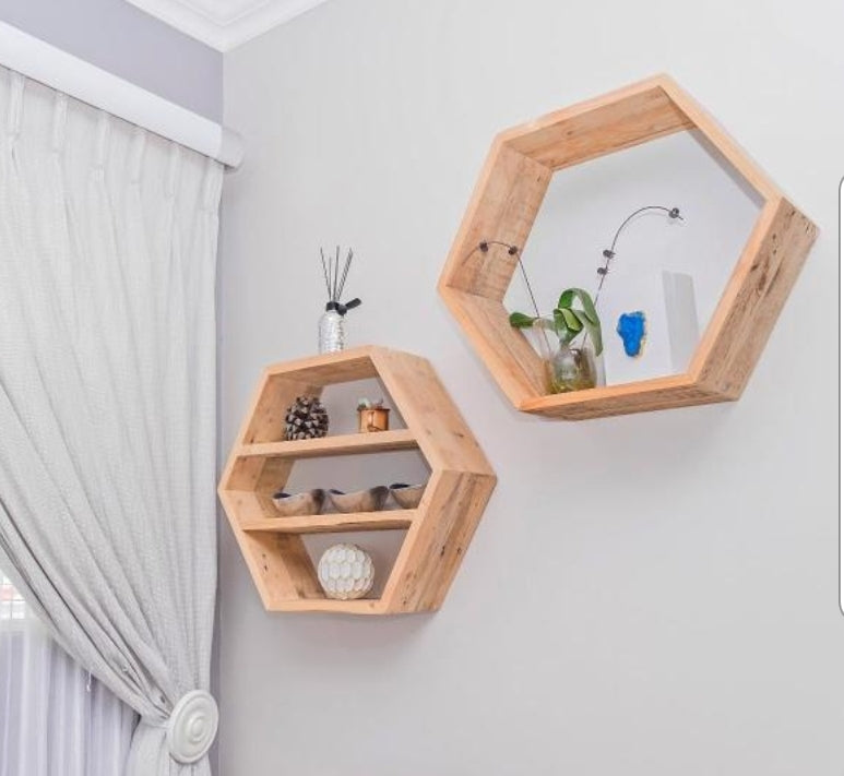 Hexagon Shelf - Reclaimed Wood