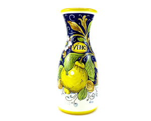 Borgioli Lemons on Blue Wine Bottle - 1 Litre