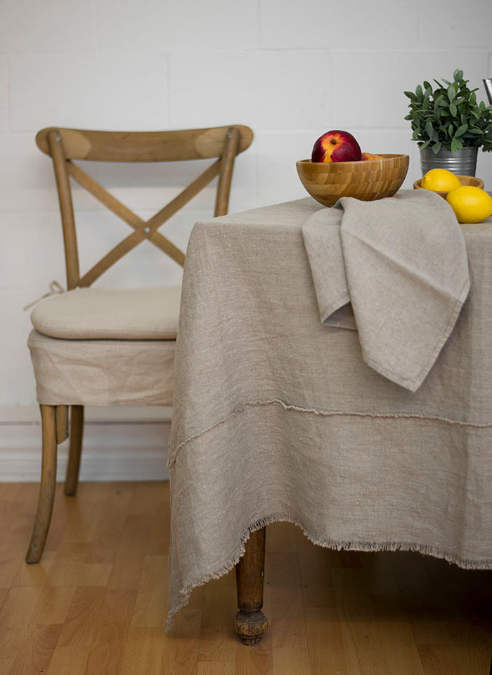 Bilbao Natural Fringed Tablecloth