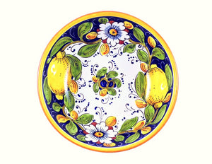 "Borgioli - Lemons on Blue Salad Bowl 20cm (7.9"")"