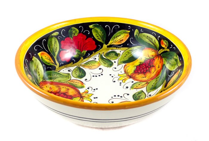 "Borgioli - Pomegranates on Black - Salad Bowl 20cm (7.9"")"
