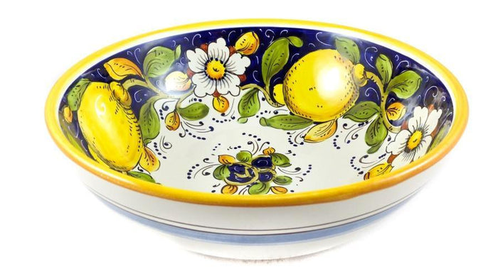 "Borgioli - Lemons on Blue Salad Bowl 25cm (9.8"")"