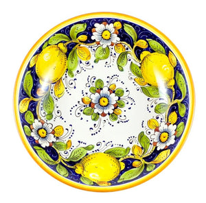 "Borgioli - Lemons on Blue Salad Bowl 30cm (11.8"")"