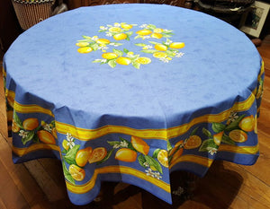 Tissus Toselli Coated Lemons Table Cloth - Blue