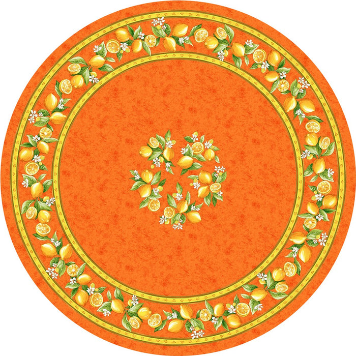 Tissus Toselli Coated Lemons Table Cloth - Orange