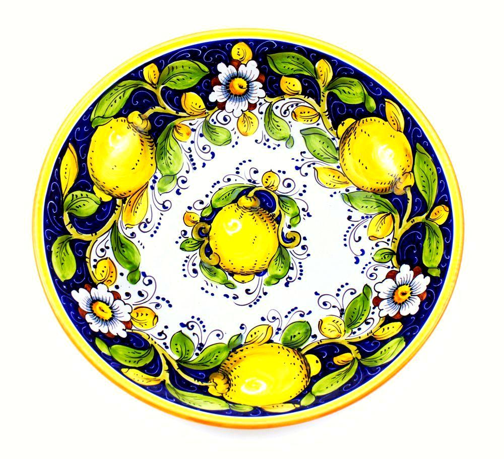 "Borgioli - Lemons on Blue - Salad Bowl - 35cm (13.8"")"