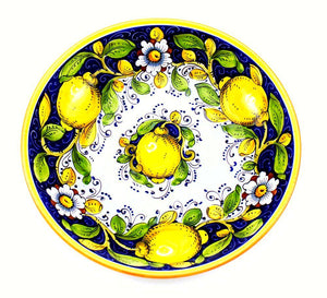 "Borgioli - Lemons on Blue Salad Bowl 35cm (13.8"")"