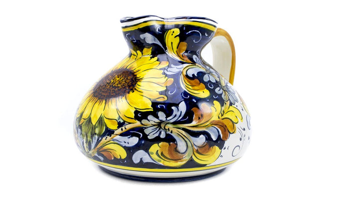 Borgioli Sunflowers on Blue Low Pitcher