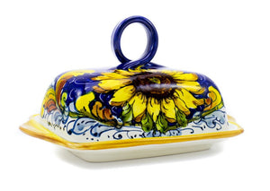Borgioli Sunflowers on Blue Butter Dish