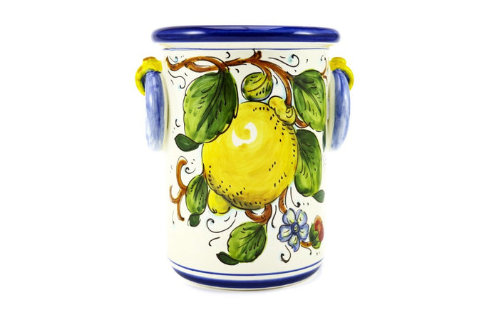 Borgioli - Lemons on White - Bottle or Utensil Holder