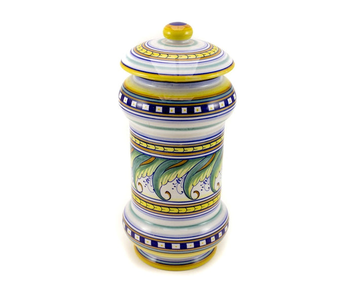 "Gialletti & Pimpinelli ""Ornato Semplice"" Large Canister - Leaf Pattern"