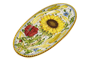 "Borgioli - Sunflower on White - 22cm x 42cm Oval Platter (8.6"" x 16.5"")"