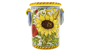 Borgioli - Sunflower on White - Bottle or Utensil Holder
