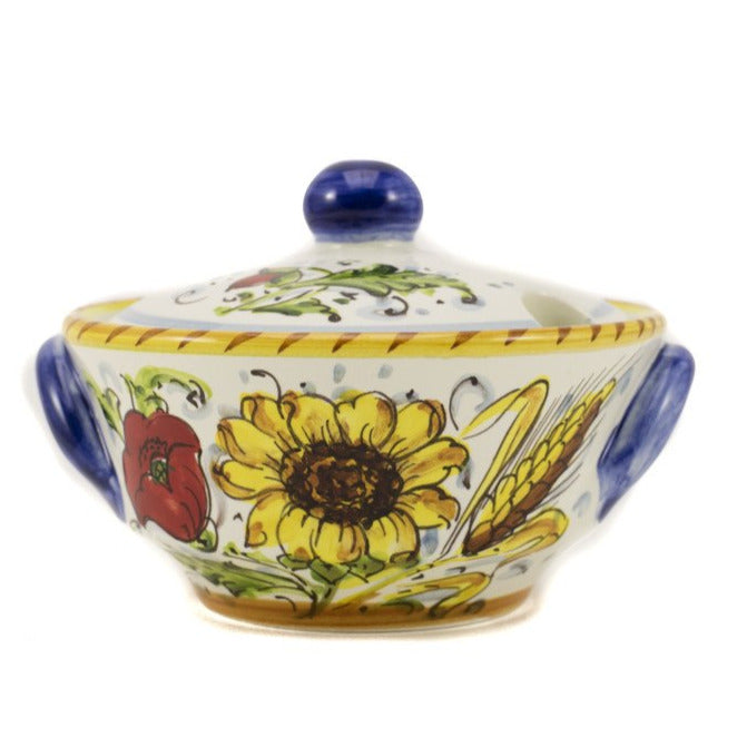 Borgioli - Sunflower on White - Sugar Bowl
