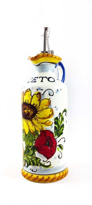"Borgioli - Sunflower on White - Vinegar Cruet - Height: 15cm (5.9"")"