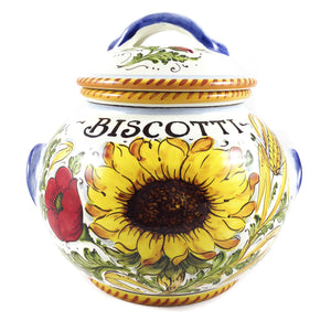 Borgioli - Sunflower on White - Large Biscotti Jar