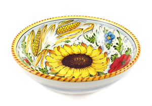 "Borgioli - Sunflower on White Salad Bowl 25cm (9.8"")"