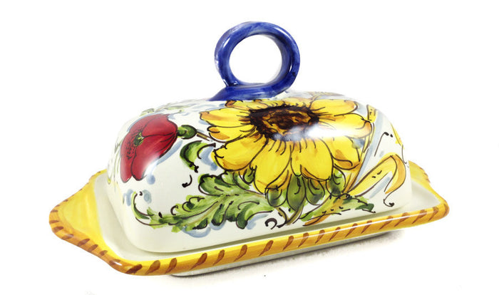 Borgioli - Sunflower on White - Butter Dish
