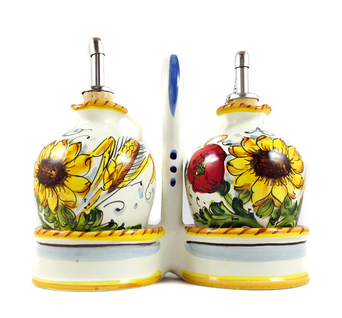 Borgioli - Sunflower on White - Oil and Vinegar Cruets with Caddy