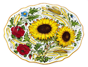 "Borgioli - Sunflower on White - 34cm x 45cm Oval Platter (13.4"" x 17.7"")"