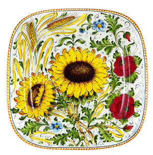 "Borgioli - Sunflower on White - 40cm x 40cm Square Platter (15.7"" x 15.7"")"