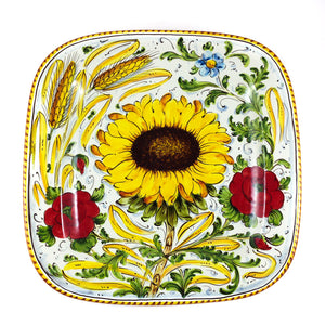 "Borgioli - Sunflower on White - 34cm x 34cm Square Platter (13.4"" x 13.4"")"