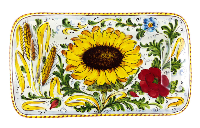 "Borgioli - Sunflower on White - 34cm x 20cm Rectangular Platter (13.4"" x 7.9"")"