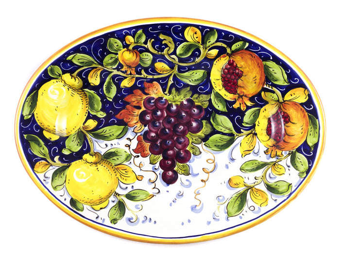 "Borgioli Mixed Fruits Oval Platter - 27cm x 37cm (10.6"" x 14.5"")"