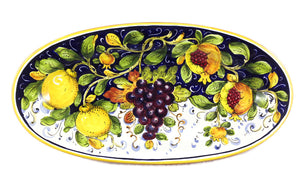"Borgioli Mixed Fruits Oval Platter - 22cm x 42cm (8.6"" x 16.5"")"